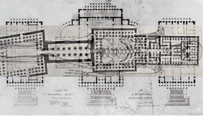 Temple of Luxor, human skeleton over plan of US Capitol